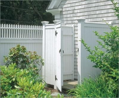 Custom Private Outdoor Shower Enclosure| Wood Shower Enclosures and Solid Cellular PVC Shower Enclosures from Walpole Woodworkers
