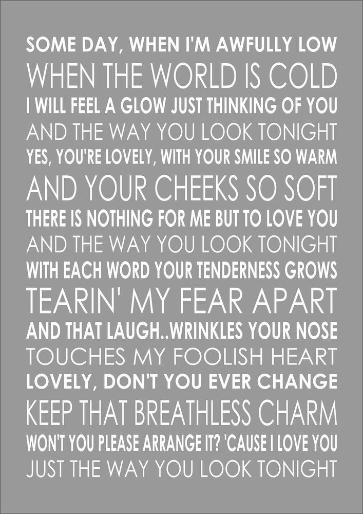 THE WAY YOU LOOK TONIGHT - FRANK SINATRA - Typography Words Song Lyric Lyrics