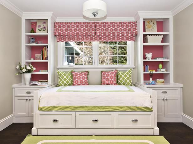 With a few changes, I really like this idea for a small bedroom.  The sides of the bed are too high for one.  But I like the storage on the sides and underneath the bed.  Nice.
