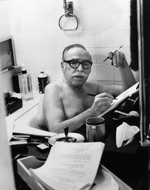 I'm loving this writing process. Screenwriter Dalton Trumbo writing in the bath.