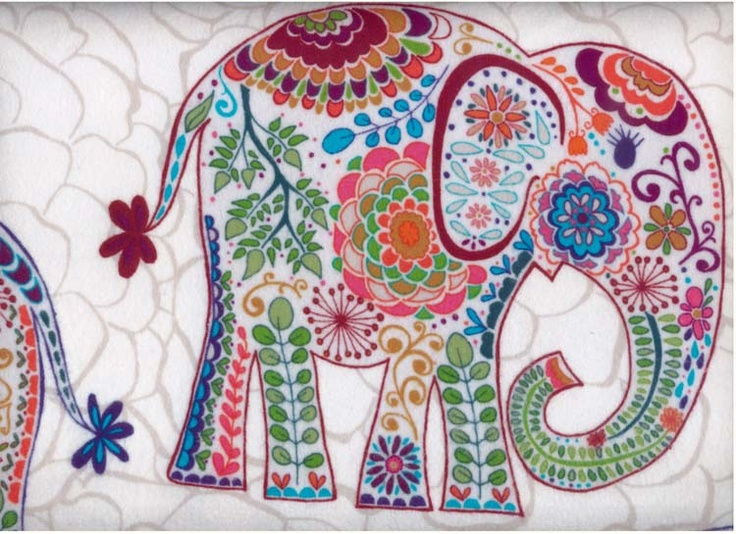 Indian elephant flannel fabric