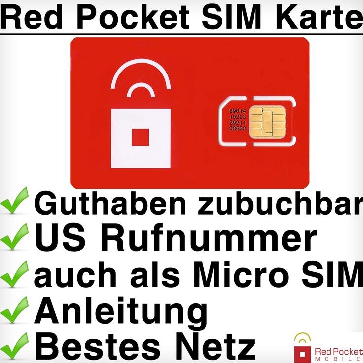 Red Pocket USA SIM Karte    - Eine Auswahl aus 6 Prepaid-Tarifen  - Örtliche USA-Telefonnummer  - Beste Netzabdeckung in den USA (#1 GSM Netz)  - Keine Bonitätsprüfung oder Verträge  - Guthaben direkt über uns zubuchbar  - inklusive Schritt für Schritt Anleitung    mehr unter:  http://www.travelsimple.de/sim-karten/usa/193/red-pocket-sim-karte