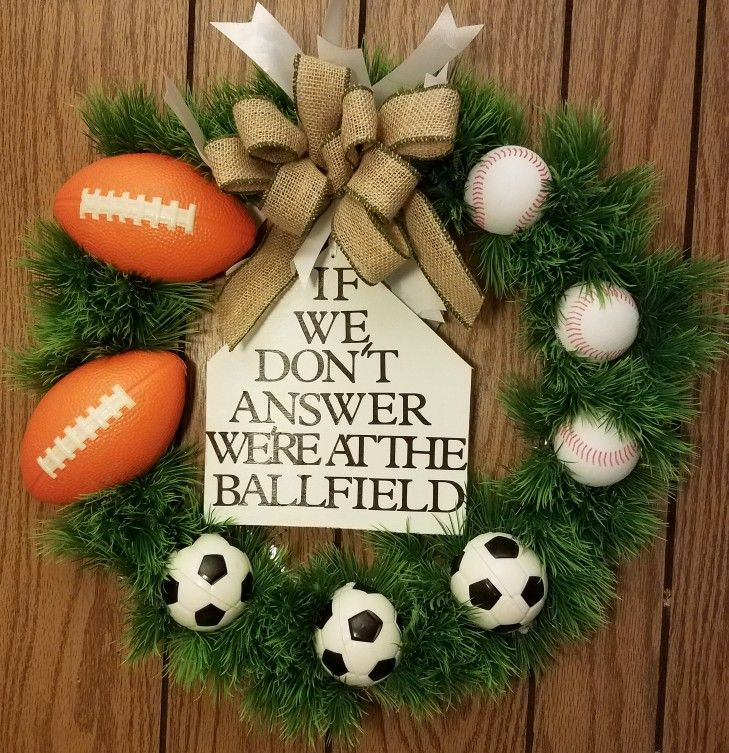 Football wreath. Soccer wreath! Baseball wreath! Got the bases covered! All sports wreath