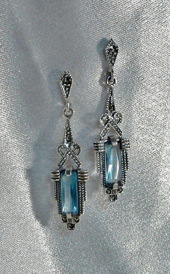 Vintage Earrings Art Deco Marcasite Sterling Silver 925 Earrings With Swiss Blue Topaz Gemstone