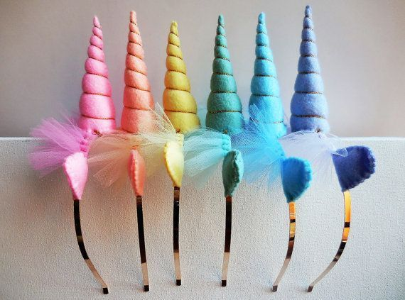 Unicorn Headbands, Unicorn Birthday Party Ideas- Unicorn party favors-- Rainbow Unicorn Party -- Six Unicorn Headbands - Rainbow Unicorn Headbands - Pastel Rainbow Unicorn Head