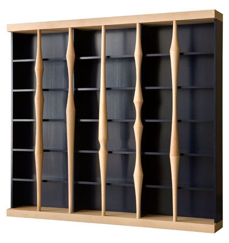 BERENICE, open bookcase made of dark blue finished cherry wood with solid maple columns. by Luca Scacchetti
