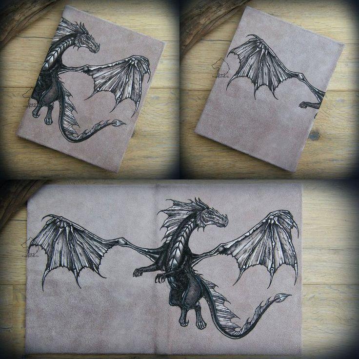 Dragon Sky - leather journal/calendar by Dark-Lioncourt.deviantart.com on @DeviantArt
