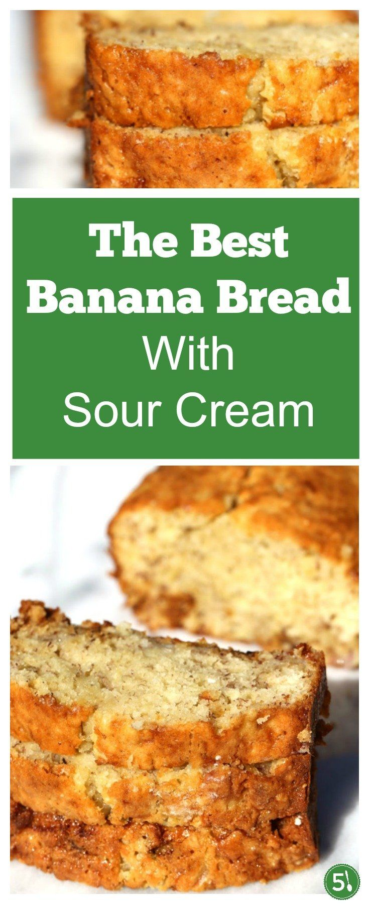 This moist banana bread with sour cream recipe is so delicious.  The texture of this bread is soft, with a slightly crispy top and has been voted the best banana bread by my family.