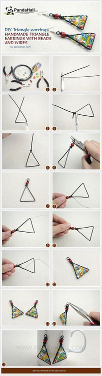 Free Jewelry Making Tutorial--DIY Handmade Triangle Earrings with Beads and Wires