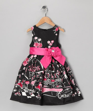 Take a look at this Black & Fuchsia Floral 'Jukebox' Dress - Infant, Toddler & Girls by Donita on #zulily today!
