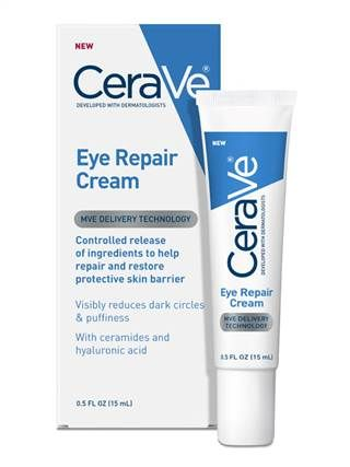 CeraVe Eye Repair for Dark and puffy under-eyes.  We clearly are not the only ones out there tired of using one product to target dark circles and a second to deflate bags. CeraVe new Eye Repair formula does both, brilliantly — without inflaming the sensitive tissue around our eyes. Key ingredients include marine and botanical extracts to fight darkness, hyaluronic acid to hydrate and smooth fine lines and ceramides to strengthen and repair the skin barrier. (CeraVe Eye Repair, $13.99.