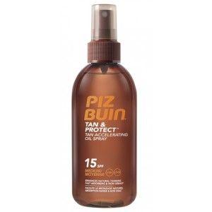 Piz Buin Tan&Protect Óleo Spray Acelerador de Bronzeado,  FPS 15, tem uma  rápida absorção, não gordurosa, fácil de aplicar óleo nutre a pele deixando-a suave, com um belo toque brilhante.  Piz Buin Tan&Protect Óleo Spray Acelerador de Bronzeado , é resistente à água e ao suor. Protecção média.