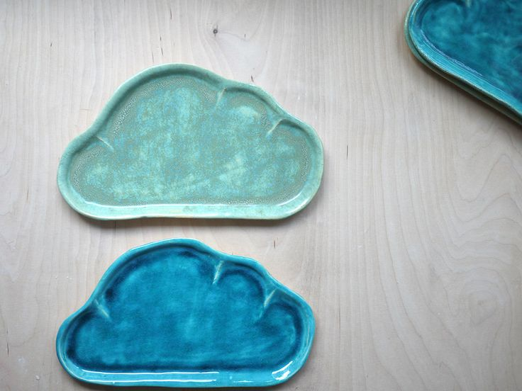 cloud plates for kids in blue and mint