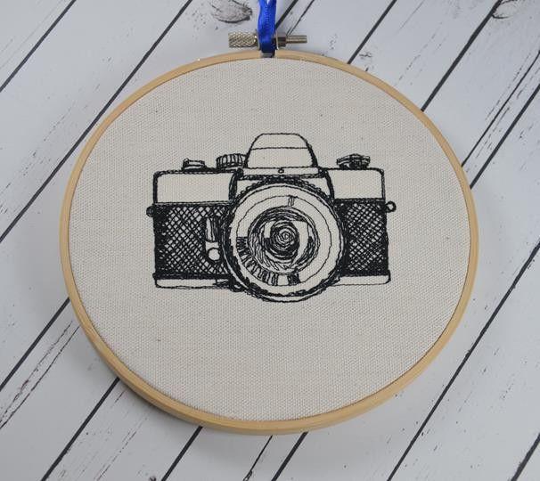 Vintage Camera Hoop Art - Machine Embroidered Art
