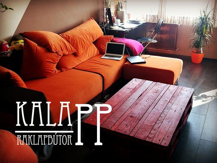 120x80-as raklapasztal vörösfenyő színben / DIY pallet table