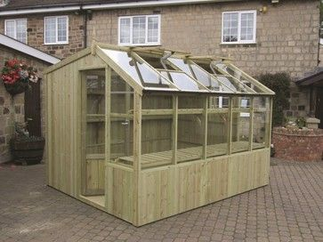 swallow rook wooden potting shed with toughened glass staging and automatic roof vents the price of the rook potting shed includes installation