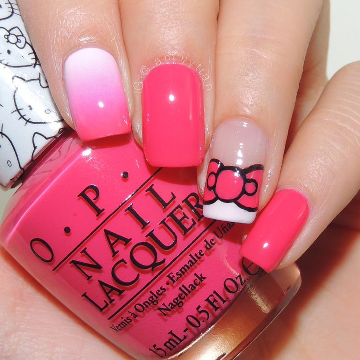 Nail Art Tutorial: Hello Kitty Bow and Gradient - NAIL IT! @amyytran