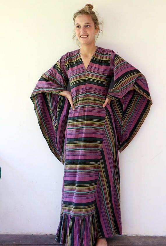 Vintage 70s cotton striped maxi dress ethnic boho hippie.  Purple festival dress (ad)