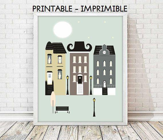 laminas ciudades, laminas imprimibles, cuadro ciudad, ilustracion digital, laminas decorativas,arte moderno,cuadro casas,5 TAMAÑOS INCLUIDOS
