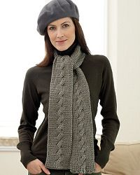 Stylish Cable Knit Scarf, a great free knitting pattern from FaveCrafts