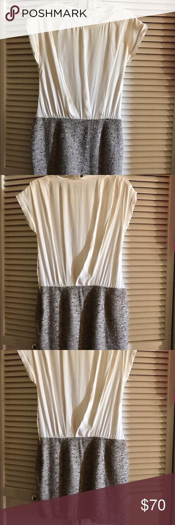 Rebecca Taylor Cream Silk and Tweed Dress Size 2 Rebecca Taylor cream and white silk top form fitted around the waist with a flattering gray tweed bottom. Worn only once in excellent condition. Perfect outfit for work or a night out on the town. Rebecca Taylor Dresses Midi