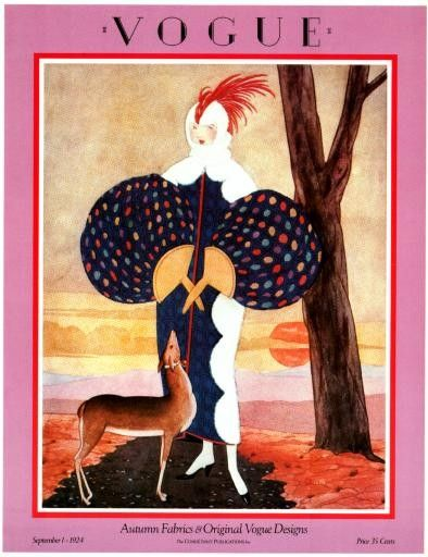 Vogue Magazine Cover- Vintage Poster - September 1, 1924 - George Plank illustration.