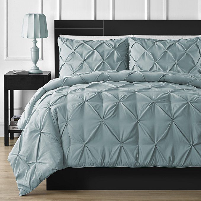 Comfy Bedding Double Needle Durable Stitching 3 Piece Pinch Pleat Comforter Set All Season Pintuck Style Queen Spa Best Bedding Sets Comforter Sets Comfy Bed