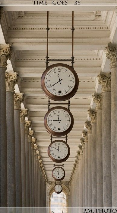 If I had a long hallway, I would do this, setting each clock 15 minutes before the other, as if someone were looking into the future. Karlsbad, Czech Republic