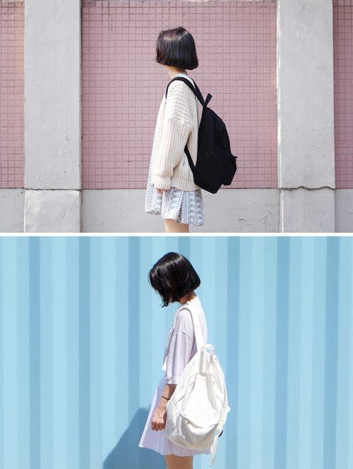 black back pack, cream sweater cream back pack, white shirt