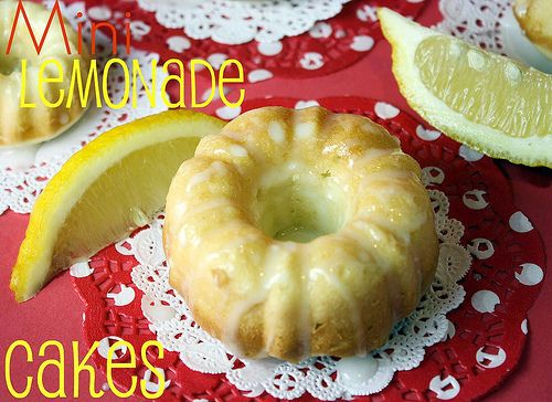Mini Lemonade Cakes from the Cook Book Queen! Yummy!!!!: Minis Lemonade, Bundt Cakes, Lemon Cakes, Minis Cakes, Lemonade Cakes, Cakes Recipes, Lemonade Bundt, Cookbook Queen, Lemonade Minis