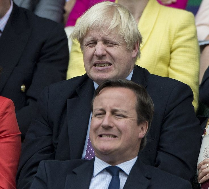 Prime Minister David Cameron and London Mayor Boris Johnson as Murray slips to defeat in the fourth and final set: London Mayor, Comic Cring, Cring Simultan, Boris Johnson, Johnson Comic, Minist David, Mayor Boris, Cringeworthi Moments, David Cameron