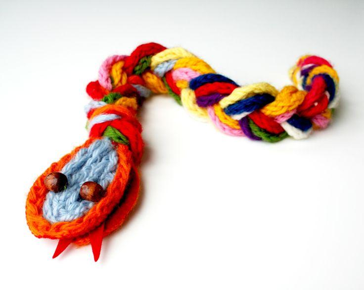 lightbluegrey: Scary snake made from finger knit yarn
