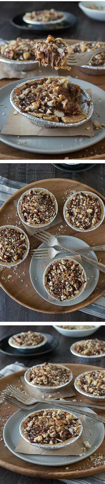 No bake mini pies with 2 layers of mixed nuts and a rich chocolate filling, all topped with chocolate and caramel! OMG these look sooooo good!!! Love making mini things!
