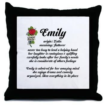 Emily Name Meaning rose design Throw Pillow