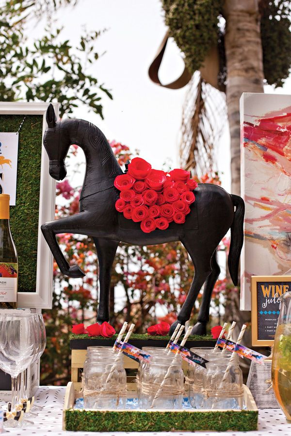 {Festive & Elegant} Kentucky Derby Garden Party - Horse Centerpiece with DIY crepe paper roses