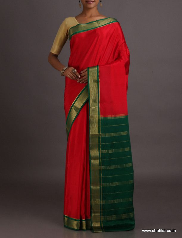 Lakshmi Red With Green Gold Border Pallu #MysoreSilkSaree