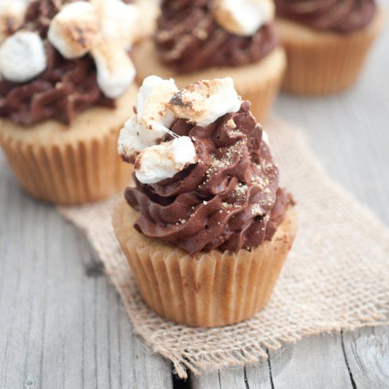 A graham cracker cupcake with whipped chocolate ganache ...