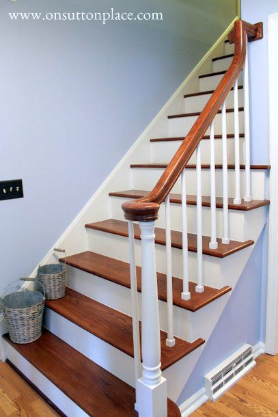 white painted newel post