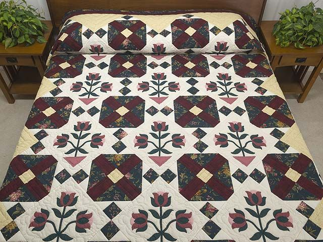 Dark Green Burgundy and Tan Tulip Medley Quilt Photo 1