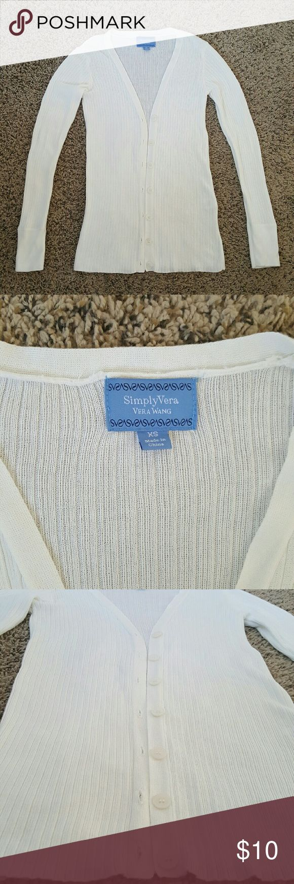 Simply Vera Vera Wang Cardigan In excellent condition!  Simply Vera Vera Wang Cardigan, slight off white, light cream, super soft, ribbed, button down, thin, sheer. Simply Vera Vera Wang Sweaters Cardigans