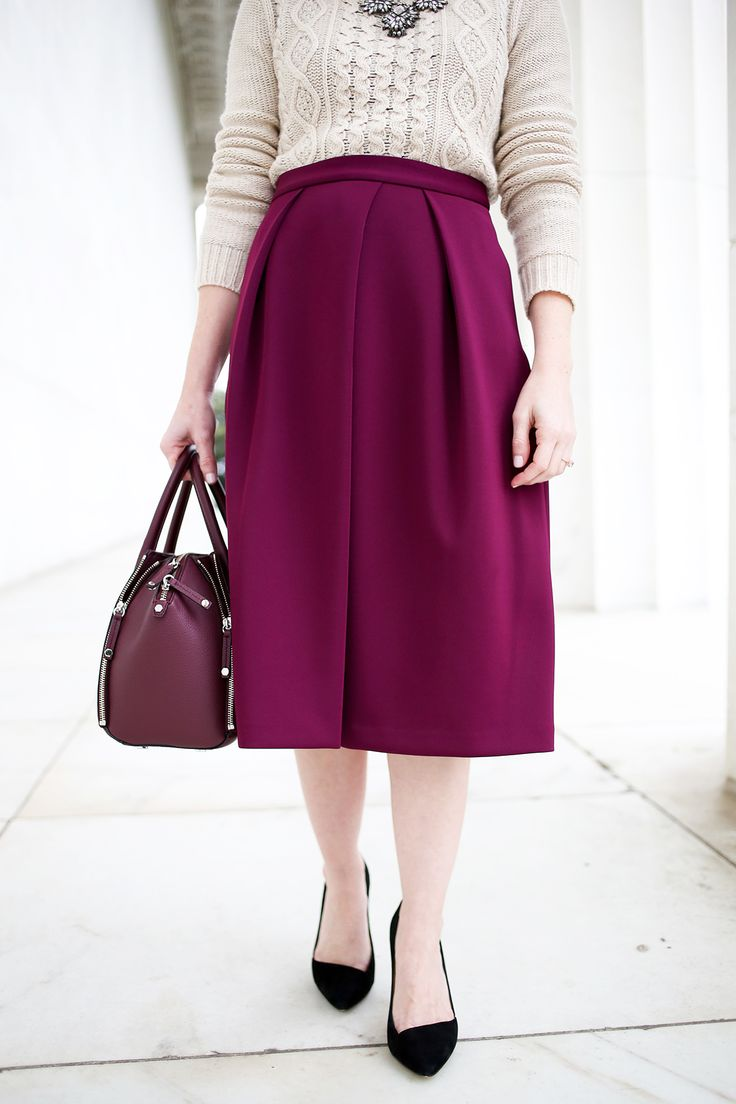 When wearing a midi skirt to work, make sure the skirts slits are not extending beyond your knee level. A slit down the front of the skirt would also be comfortable to wear when you are sitting down at work, so a slit on the side would be best in this case.