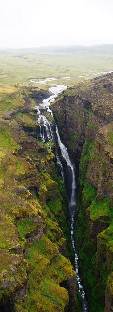 Glymur, Iceland, The waterfall Glymur, with a cascade of 196 m, is the second highest waterfall of Iceland. It is situated at the rear end of the Hvalfjörður. Since the opening of the tunnel under this fjord, most people bypass the area.