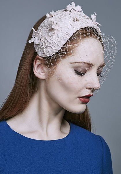 Rachel Trevor Morgan Millinery AW 2016 | R16W13 -Nude lace crescent on Alice band with face veil and lace motifs