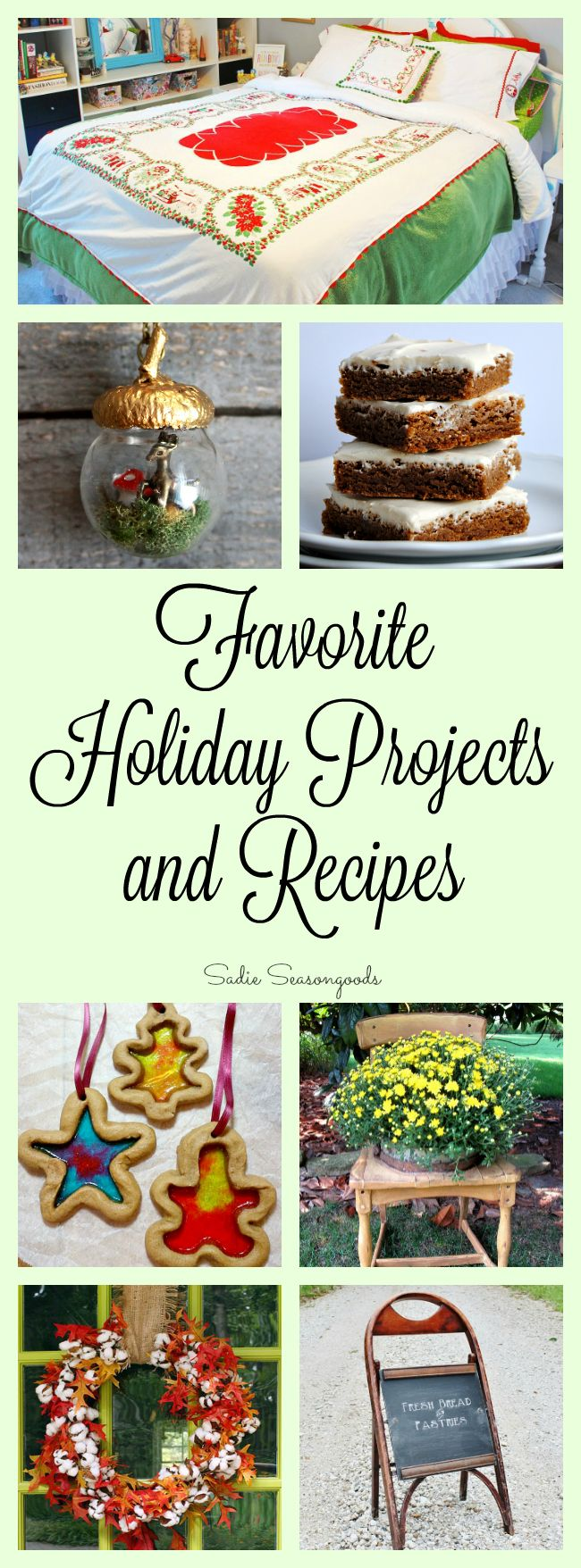 You're one-stop-post for autumn and winter holiday recipes and projects- RIGHT HERE! A fun collection of Thanksgiving and Christmas (or seasonally) themed DIY crafts and tasty things to make and bake, from a bevy of *AMAZING* bloggers.  #SadieSeasongoods