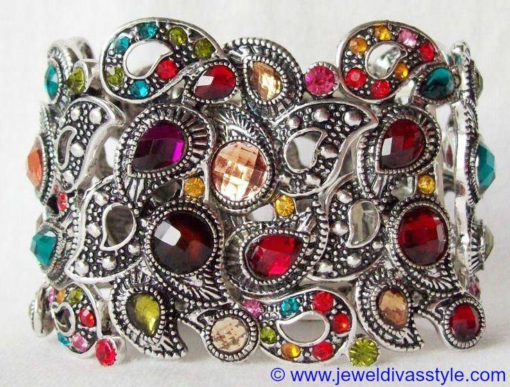 JDS - SILVER MULTI COLOURED CRYSTAL BRACELET - http://jeweldivasstyle.com/my-personal-collection-silver-multi-jewellery-10/