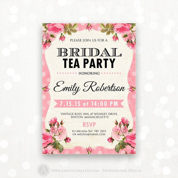 Printable Bridal Tea Party Invitation Shabby Chic Invite Shower the Bride Editable Vintage Pink Rose Bridal Brunch INSTANT DOWNLOAD Digital on Etsy, $15.00