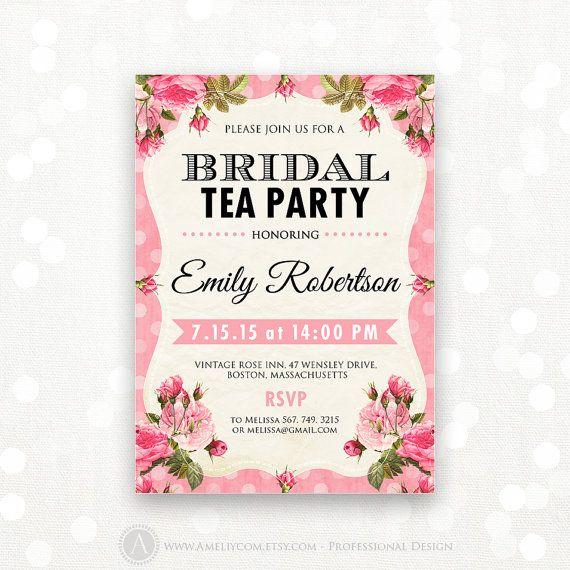 Printable Bridal Tea Party Invitation Shabby Chic Invite Shower the Bride Editable Vintage Pink Rose Bridal Brunch INSTANT DOWNLOAD Digital on Etsy, $15.00