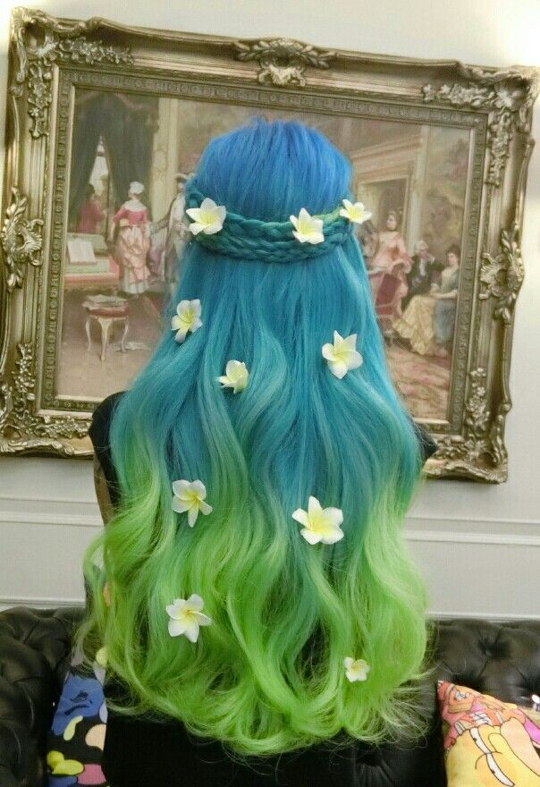 Floral blue green ombre dyed hair with flowers