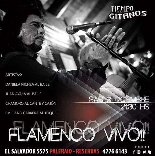 Noche de flamenco!!!! te esperamos desde las 21:30 hs en El Salvador 55755 - #Palermo  Solo con reservas llamando al 4776 6143
