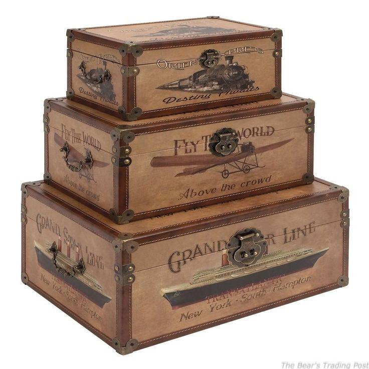 NEW Vintage Wood Storage Trunk  Set of 3  World Traveler Decorative Storage  Room. Best 25  Decorative storage trunks ideas on Pinterest   Decorative